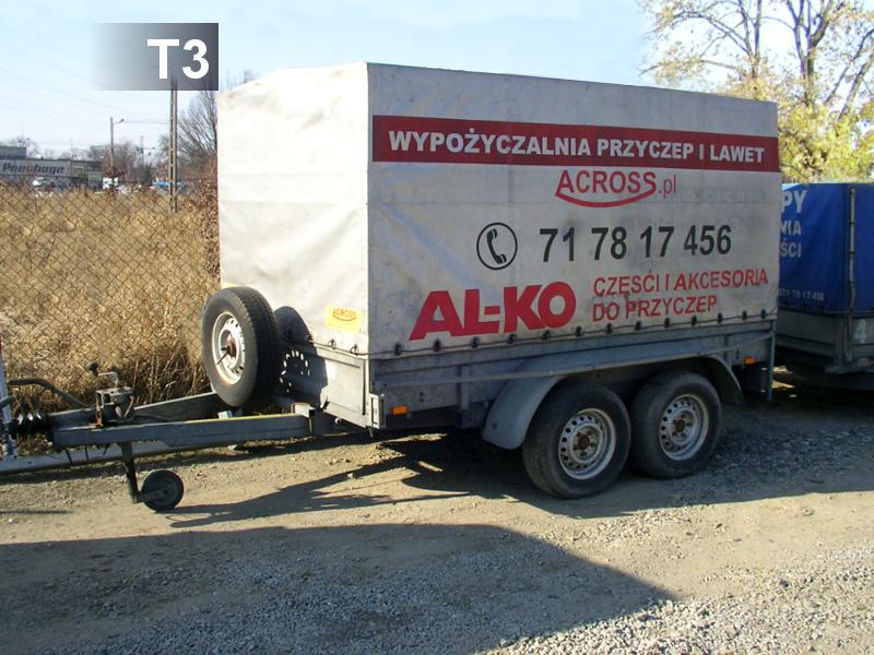 T3 Wymiary: 258x150x140pojemność 4,6m (3palety)ładowność: 1100kg DMC 1500kg cena/doba: 65zł do 4godz. 45zł